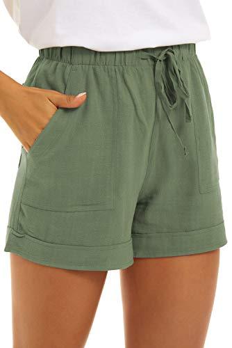 GOLDPKF Kurze Hosen Damen Bermuda Active Workout Shorts für Frauen Wandern Pullup Mid Rise elastische Leinen Beach Jogginghose mit Taschen Damen Plus Size Hose Grün XX-Large 46