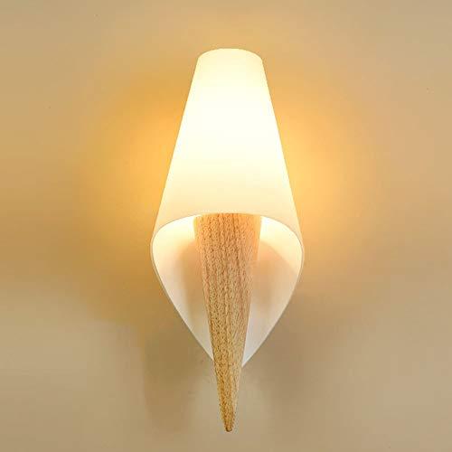 BDwantan Lámpara de pared para dormitorio escandinavo, moderna y creativa, lámpara de pared para mesita de noche, cálida de madera, decoración de salón, lámpara LED E27 x 1 (13 x 33 cm)