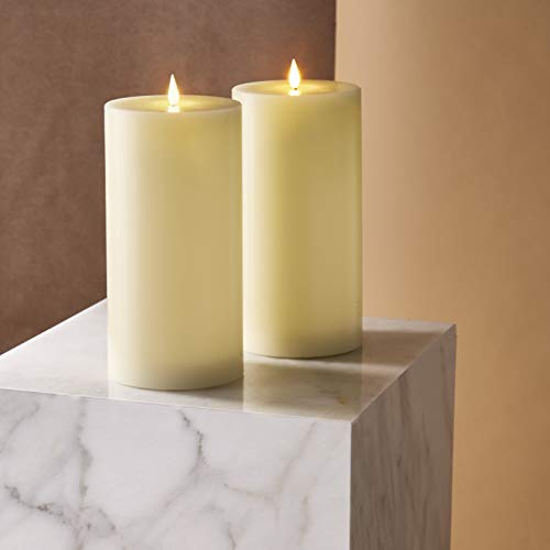 Realistic Flameless Candles 4x8 - Battery Operated, Ivory Real Wax, 3D Flickering Flame with Wick, Large Pillar for Easter, Mothers Day or Home Decor, Remote Control & Timer Included - Set of 2