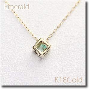 [ダイヤモンドワタナベ] カラーストーン プチペンダントネックレス キューブ ボックス サイコロ エメラルド 5月誕生石 K18Gold(ゴールド) アズキチェーン(アジャスター管付) 18金 ネックレス