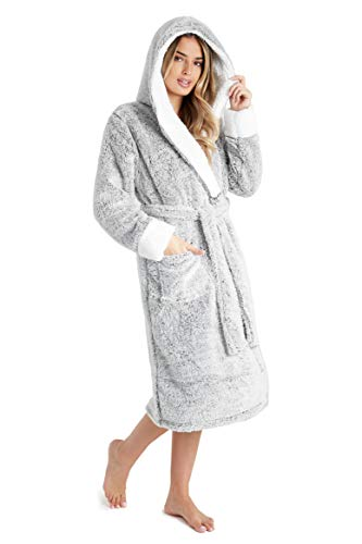 CityComfort Dressing Gown Women with Hood - Luxurious Fluffy Ladies Dressing Gown in Super Soft Fleece Grey for Women, Gifts for Mum (M, Two Tone Grey)