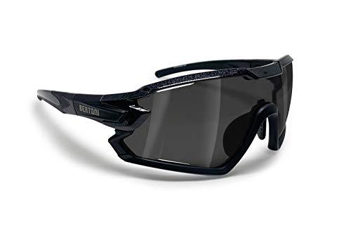 BERTONI Gafas Ciclismo Running MTB Esquí Tennis Padel Polaridas Fotocromaticas mod. Quasar (Negro/Espejo Plata)