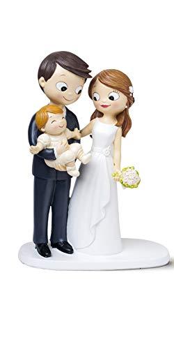 Mopec Figurine de mariés et bébé en polyrésine Blanc 7,8 x 16 x 21 cm