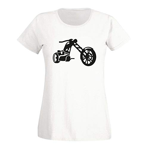 T-Shirt Chopper 3D Biker Motorrad Rocker Cruiser Rider 15 Farben Damen XS - 3XL Custom Tuning Biker-Treff Club Route 66 Kutte Kluft, Größe:XS, Farbe:Weiss - Logo schwarz