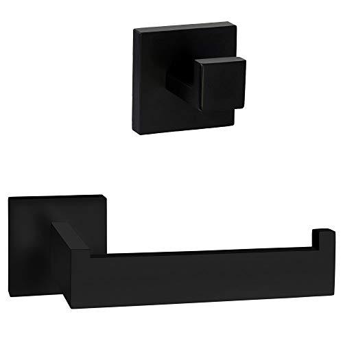 ECENCE Juego de portarrollos y toallero - Diseño Cuadrado - Accesorios para baño - de Acero Inoxidable Negro
