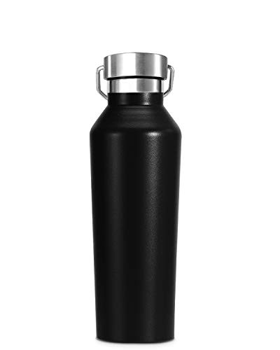 Bioasis 600 ML Botella de Agua de Pared Doble con Aislamiento al vacío, Botella de Agua de Prueba de Fugas, Botella Térmica de Acero Inoxidable sin BPA, para Gimnasio, Oficina, Deportes (Negro)