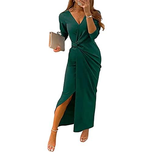 Yassiglia Vestidos de mujer elegantes de noche, de invierno, de fiesta, de manga larga con cuello en V, Verde, S