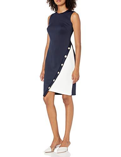 Tommy Hilfiger Damen Women's Asymmetrical Hem Sheath Dress Kleid, Blau/Weiß, 42