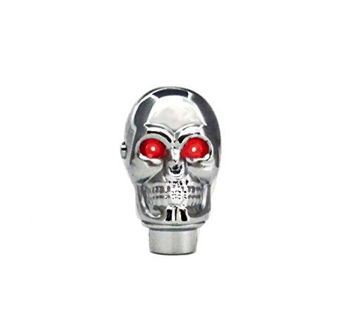 TESWNE Silver Chrome Skull Gear Shift Knob Manual Stick Shift Knobs - LED Light Red Eyes