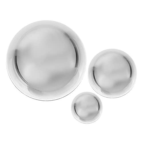 YARNOW 3 Piezas de Espejos de Jardín de Bola de Mira de Acero Inoxidable Pulido de Bola Hueca para Decoración de Jardín de Hogar Decoraciones de Plata
