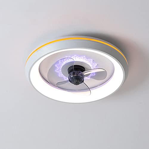 QJUZO Silencioso Ventilador De Techo con Luz LED 80W, Moderna Lámpara De Techo Regulable con Control Remoto, 3 Velocidades, Luz De Techo para Dormitorio Sala De Estar Oficina Ø50cm,Blanco