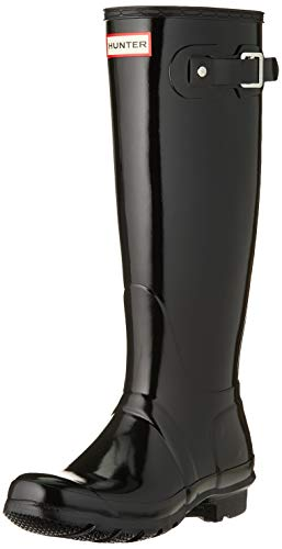 HUNTER Damen Original Tall Gloss Wellington Boots Gummistiefel, Schwarz (Black Blk), 38 EU