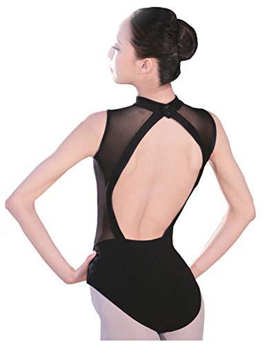 Huida Damen Rückenfrei Rollkragen Bodysuit Trikot Gymnastik Tanz Ballettanzug Leotard Body Tops (schwarz, M)