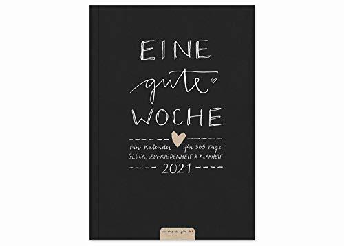 Terminkalender A5 - Eine gute Woche - Kalender 2021, Wochenplaner und Notizbuch für mehr Achtsamkeit, Taschenkalender & Terminplaner, Softover, Schwarz Weiß, klimaneutral auf Recyclingpapier