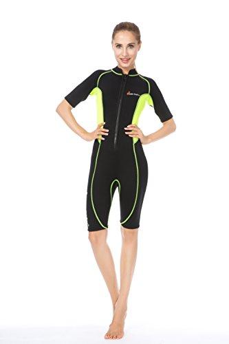 Dames Wetsuits&Diving Suit-3mm Premium Neopreen Korte & Volledige Body Sport Skins, Platte vergrendeling Stitching Jumpsuit met Super-stretch voor Watersport, Spearfishing, Duiken, Snorkelen, Zwemmen (Groen en Zwart(korte lichaam), XL)