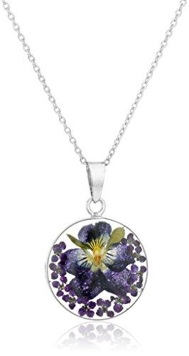 Sterling Silver Dark Blue Pressed Flower Round Pendant Necklace, 16'