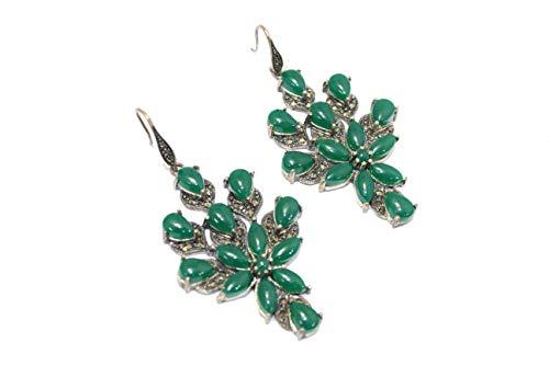 PH - Pendientes colgantes hechos a mano para mujer, plata de ley 925, ónix verde, piedras de marcasita T