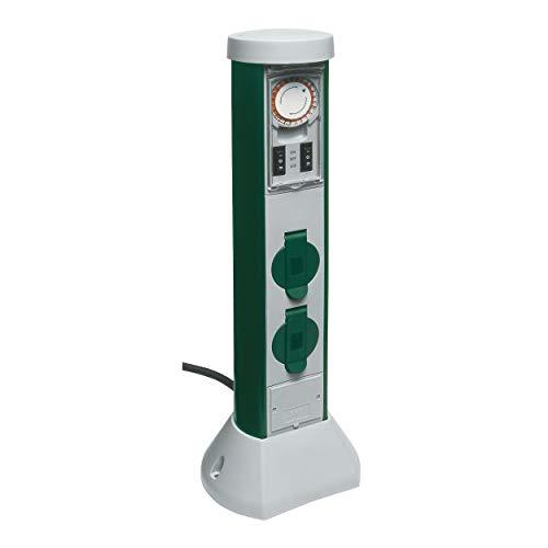 REV 0068206251 GreenCraft, Garten Steckdosen, H50cm, Kabel 5m, Zeitschaltuhr, grün