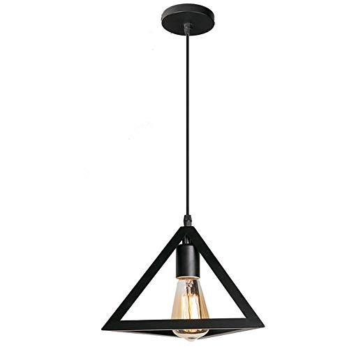 Lampada a sospensione Vintage industriale, cubo creativo battuto lampadario in ferro adatto per sala da pranzo e un da cucina, E27, lampadina non inclusa (triangolo)