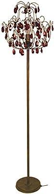 Tosel E5154 Lampadaire, Tube et tôle Acier, Peinture époxy, Pampilles ver, E27, 100 W, Marron/Rouge