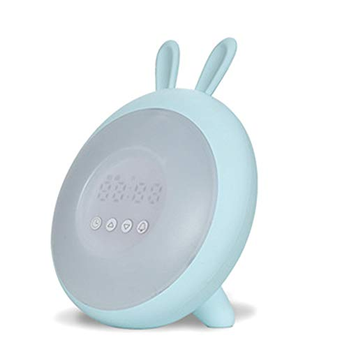 LBWLB wekker met nachtlampje, led-touch kleine wekker, USB opladen, geschikt voor keuken, slaapkamer, woonkamer blauw