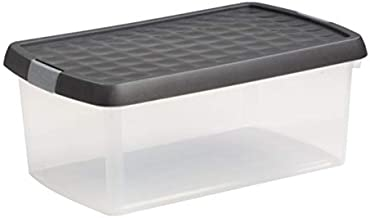 Wham 19877 Storage Box with Clip Lid, Clear/Graphite - 39H X 24W X 15.50D cm