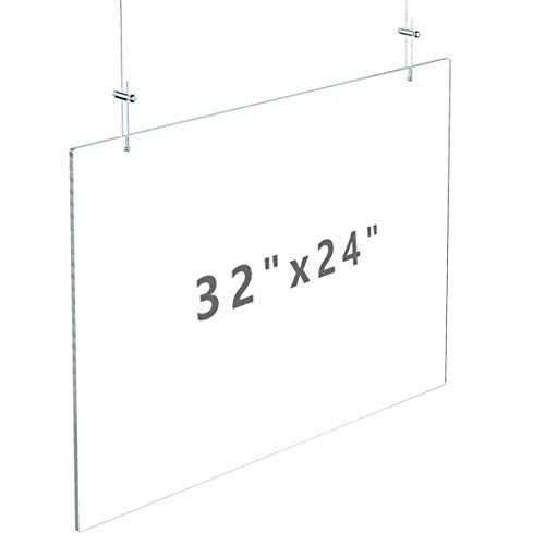 """FEMELI Hanging Sneeze Guard 32""""×24"""" for Counter Ceiling with String,Plexiglass Plastic Sneeze Shield for Cashier Clerk Receptionist"""