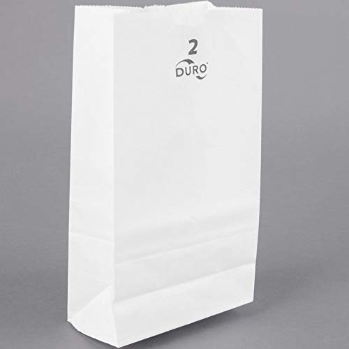 Duro White Paper Lunch Bags, Paper Grocery Bags, Durable Kraft Paper Bags, 2 Lb Capacity, Pack of 100 Bags