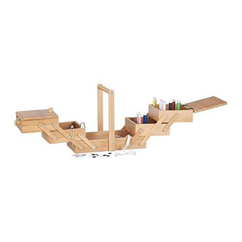 Relaxdays Caja de Costura con Compartimentos, Bambú, Beige, 20 x 27 x 15 cm