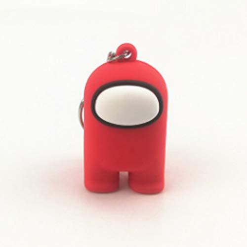 RecontraMago Among Us Llavero Muñecos -  Figuras con Caja Amongus -  Perfecto para Regalo -  Distintos Colores -  Peluche Juguetes muñecos -  Cara Feliz niños cumpleaños (Rojo)