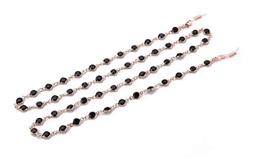 VASSAGO - Cadena de eslabones de cristal negro con diamantes de imitación para gafas de sol, correa de cadena larga para mujeres y niñas