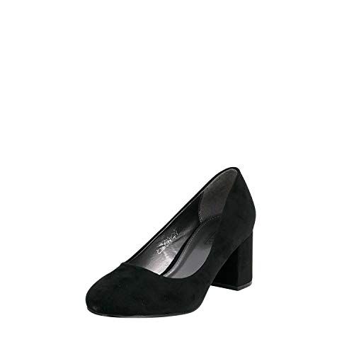 Fitters Footwear That Fits Damen Pump Sesy Microfibre Pumps mit Blockabsatz Übergröße (45 EU, schwarz)