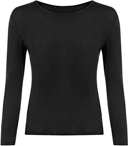 BODYWEAR LTD Damska jednokolorowa bluzka z długim rękawem, okrągły dekolt, rozmiary UK S/M M/L