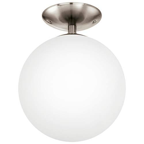 EGLO Deckenlampe Rondo, 1 flammige Deckenleuchte, Material: Stahl, Farbe: Nickel matt, Glas: Opal matt weiß, Fassung: E27