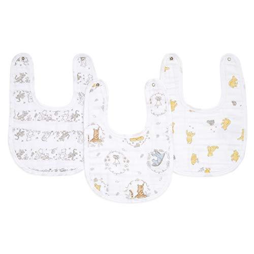 aden + anais essentials - Pack de 3 bavoirs à boutons-pression pour bébé prélavés en mousseline 100% coton - Bavoir absorbant - Ajustable - Garçon - Fille - Imprimé Winnie + Friends - 23 cm x 34 cm