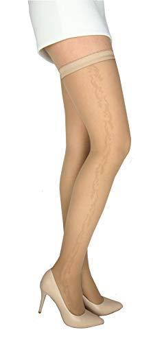 Marilyn gemusterte transparente halterlose Strümpfe, 15 Denier, Größe 36/38 (S/M), Farbe Beige (beige)