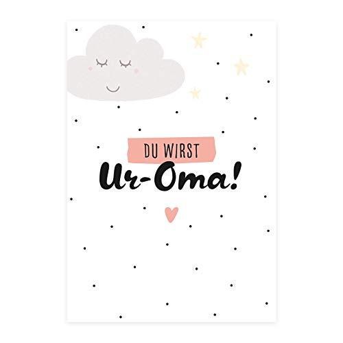 Him & I® - Du wirst Ur-Oma Postkarte - Schwangerschaftskarte zur Baby Ankündigung, Karte für Uroma zur Ankündigung der Schwangerschaft - Maße: 16,5 cm x 11,5 cm