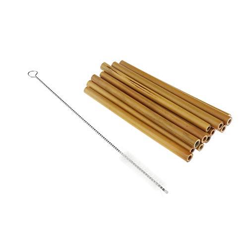 Create Idea - 12 cannucce di bambù biodegradabili organiche naturali riutilizzabili, ecologiche, con spazzola di pulizia, tasca pulita