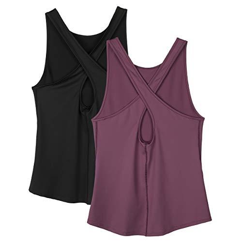 icyzone Camisetas sin Mangas para Mujer – Camisetas de Yoga para Mujer, Espalda Abierta, atlética, Camisetas de Gimnasio (Paquete de 4)-S-Negro/Mauve Orchid