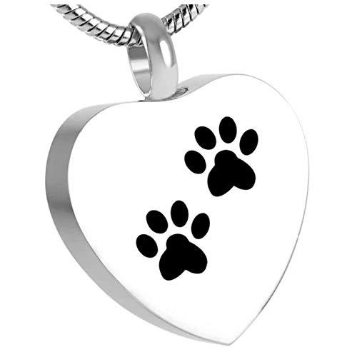 Wxcvz Collar para Cenizas Collar De Recuerdo para Mascotas, Gran Oferta, Doble Estampado De Pata De Perro En Mi Corazón, Joyería De Cremación, Colgante De Recuerdo De Cenizas De Acero Inoxidable