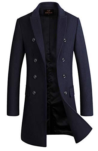 Men's Premium Wool Blend Double Breasted Long Pea Coat (Navy Blue, Medium)