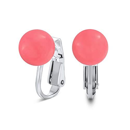 Piedra preciosa rosa ágata melocotón simulado Coral round Ball Stud Clip on Pendientes para mujeres no piercing 925 plata de ley