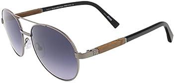 Ermenegildo Zegna Men's Shiny Gunmetal Aviator Sunglasses