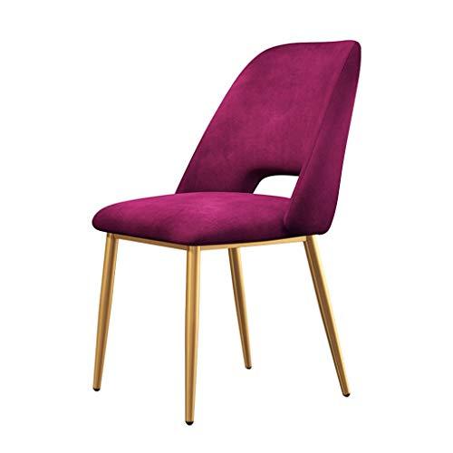 ZCXBHD Vintage Cenando sillas con Asiento Metal Oro Piernas Terciopelo y respaldos Modernas sillas encimera Cocina for el Ocio Sala Maquillaje heces (Color : Purple, Size : Black Legs)