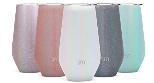Simple Modern Spirit 16oz Wine Tumbler Glass with Lid - Vacuum Coffee Mug Stemless Cup 18/8 Stainless Steel Shimmer: Selenite