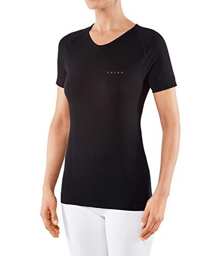 FALKE Damen Kurzarmshirt Warm Short Sleeve Comfort Fit - Funktionsfaser, 1 Stück, Schwarz (Black 3000), Größe: L