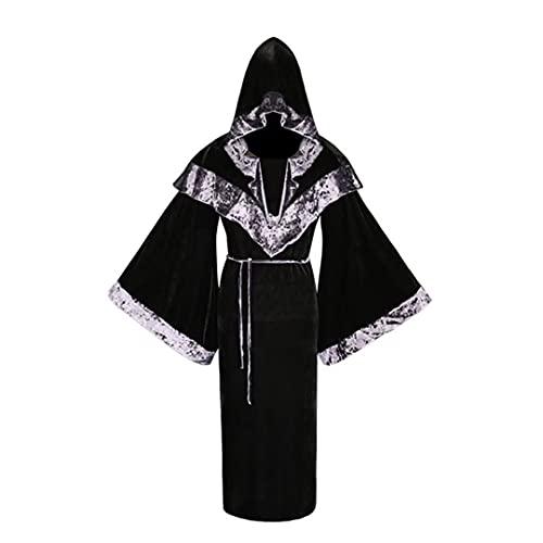 Disfraz de Brujo para Hombre, Disfraz de Halloween, Disfraz de Brujo Oscuro Medieval Vintage para Hombre, Capa de Terciopelo renacentista con Capucha