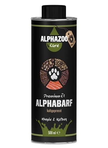 alphazoo AlphaBARF Barf Futteröl Hunde Katzen 500 ml, Lachsöl Vitalstoffe Vitamine, kaltgepresster Premium Futter-Zusatz, Haut- & Fellgesundheit, Fischöl natürlich Fell-Pflege Omega-Öl, ohne BPA