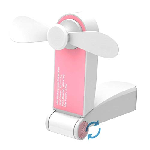 SIMUER Tragbarer Mini Lüfter Handventilator Klein Taschen Faltbarer USB Ventilator Wieder aufladbarer Persönlicher Handlüfter Taschenventilator Reise USB Fan für Outdoor, Camping, Büro, Haus Rosa