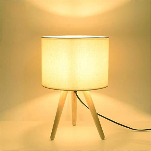 LWX Lámpara de mesa sencilla, Creative Tres pies de agua Sauce de madera Lámpara de madera maciza para dormitorio Lámpara de escritorio Dimmable para dormitorio, Sala de estar moderna, Estudio, Habita